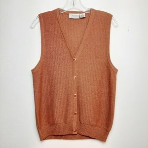 Vintage Linen Knit Tank Button Up Vest Orange M